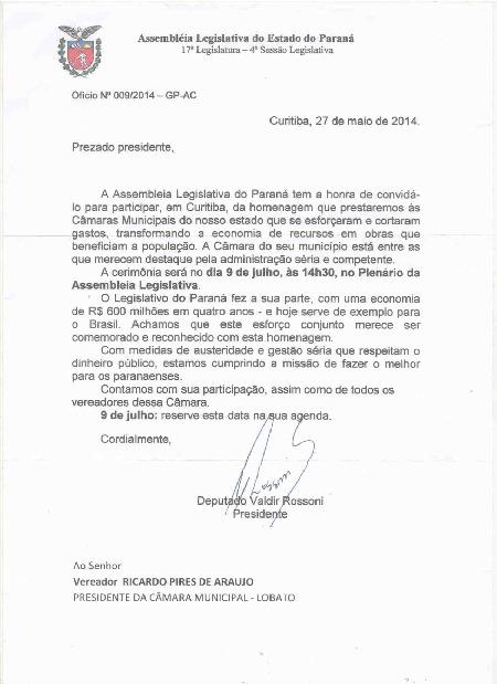 Ofício nº 009/2014-GP-AC Assembléia Legislativa do Estado do Paraná