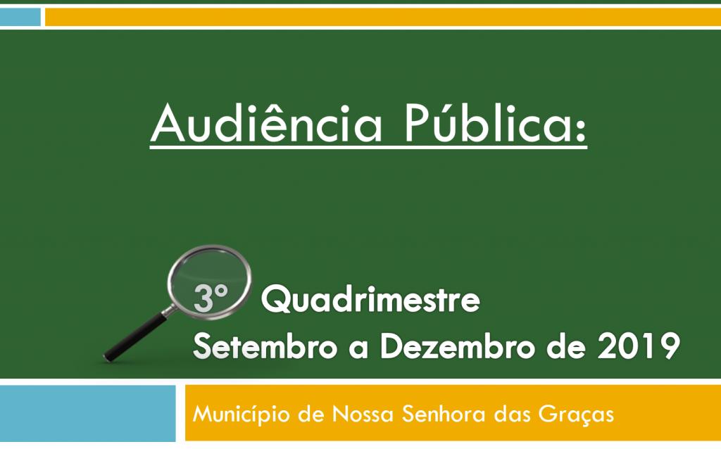 AUDIÊNCIA PÚBLICA PARA AVALIAÇÃO DO CUMPRIMENTO DAS METAS FISCAIS DIA 27/02/2020